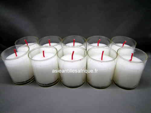 10 Veilleuses- Bougies votives blanches 30h